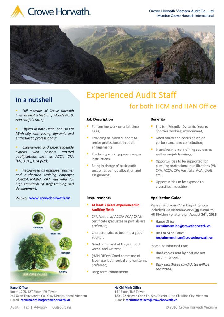Crowe Horwath Vietnam - Experienced Audit Staff 2016 - HAN + HCM