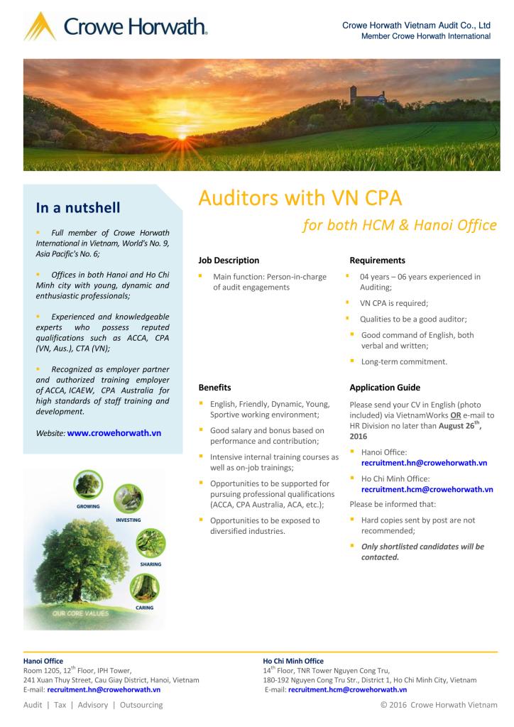 Crowe Horwath Vietnam - VN CPA Auditor 2016 - HAN + HCM