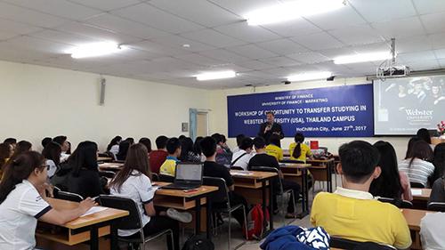 Hội thảo giới thiệu chương trình du học Đại học Webster (Mỹ) – Phân viện Thái Lan tại hội trường đại học Tài chính – Marketing